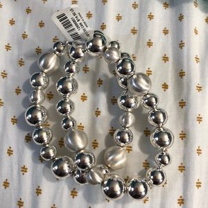 *TOREID* silver beaded stretch bracelets